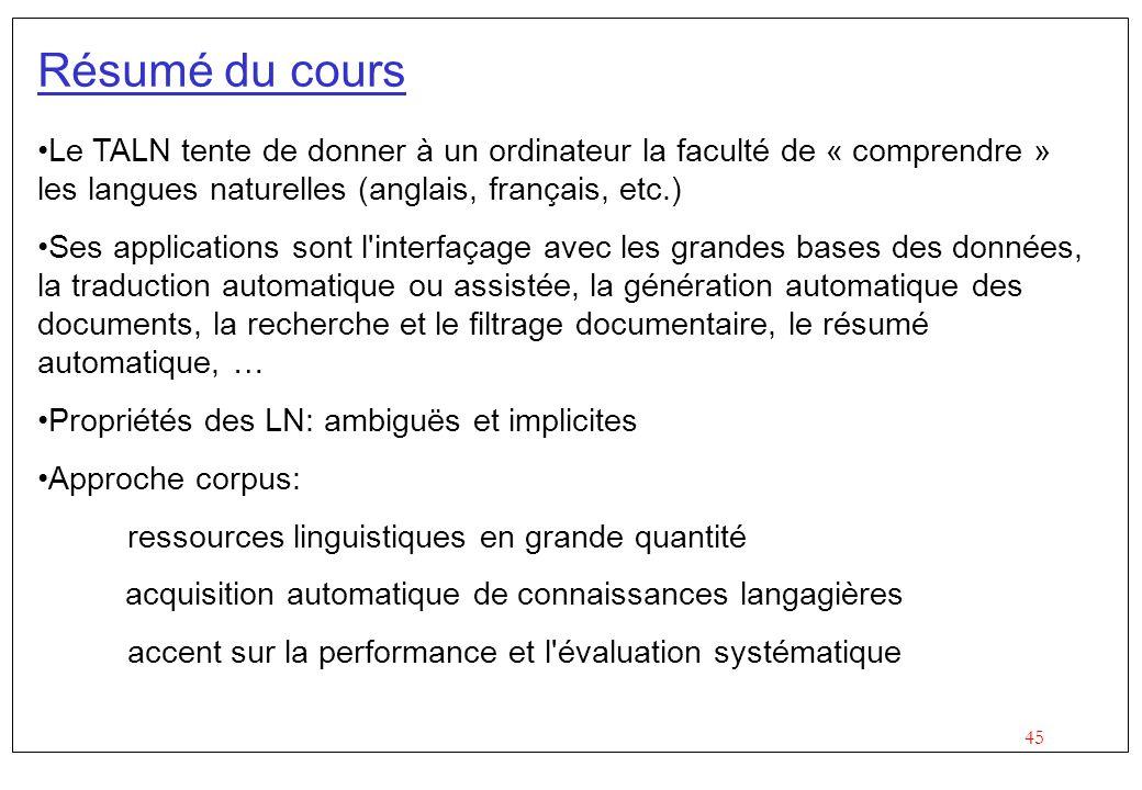 45 Résumé du cours Le TALN tente de donner à un ordinateur la faculté de « comprendre » les langues naturelles (anglais, français, etc.) Ses applicati