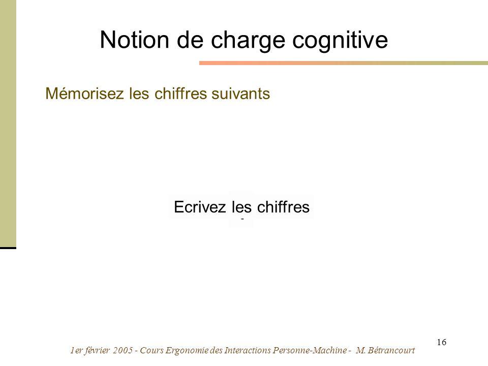 1er février 2005 - Cours Ergonomie des Interactions Personne-Machine - M. Bétrancourt 16 Notion de charge cognitive 7 4 9216 1 Mémorisez les chiffres