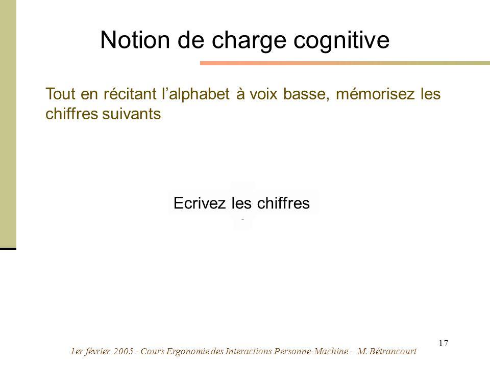 1er février 2005 - Cours Ergonomie des Interactions Personne-Machine - M. Bétrancourt 17 9 7 Notion de charge cognitive Tout en récitant lalphabet à v