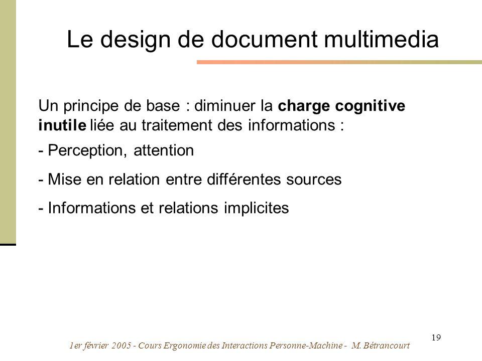 1er février 2005 - Cours Ergonomie des Interactions Personne-Machine - M. Bétrancourt 19 Le design de document multimedia Un principe de base : diminu