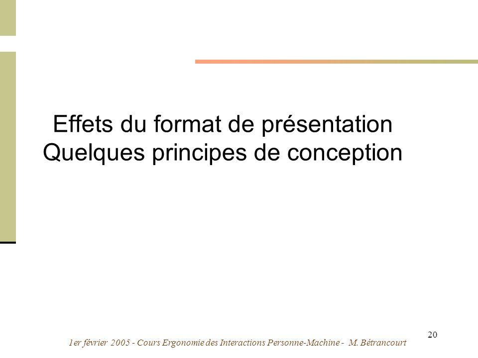 1er février 2005 - Cours Ergonomie des Interactions Personne-Machine - M. Bétrancourt 20 Effets du format de présentation Quelques principes de concep