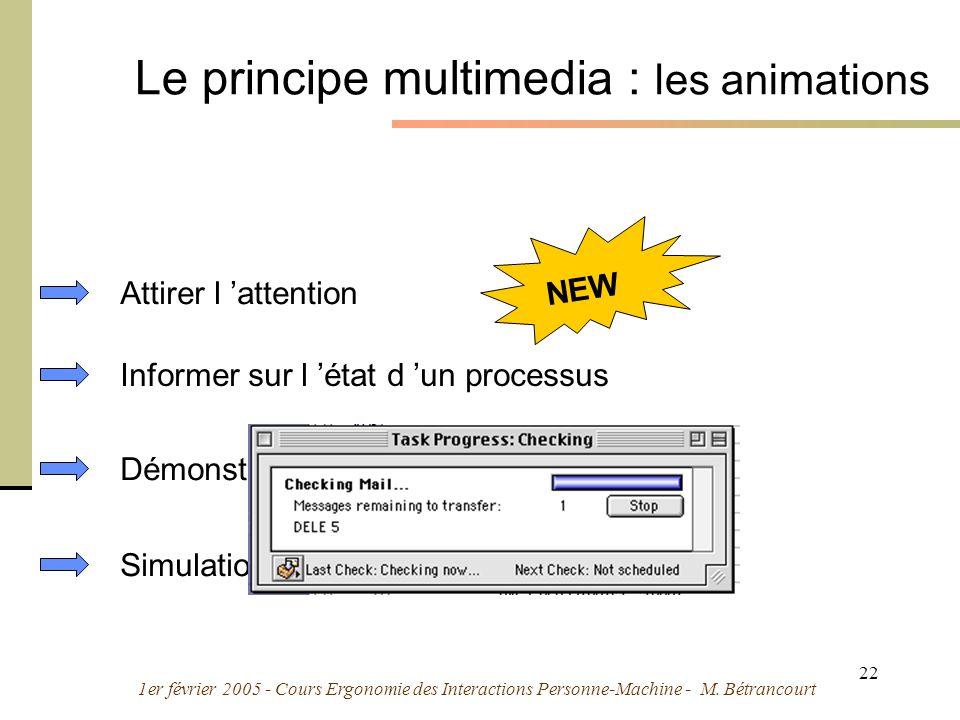1er février 2005 - Cours Ergonomie des Interactions Personne-Machine - M. Bétrancourt 22 Le principe multimedia : les animations Démonstrations Simula