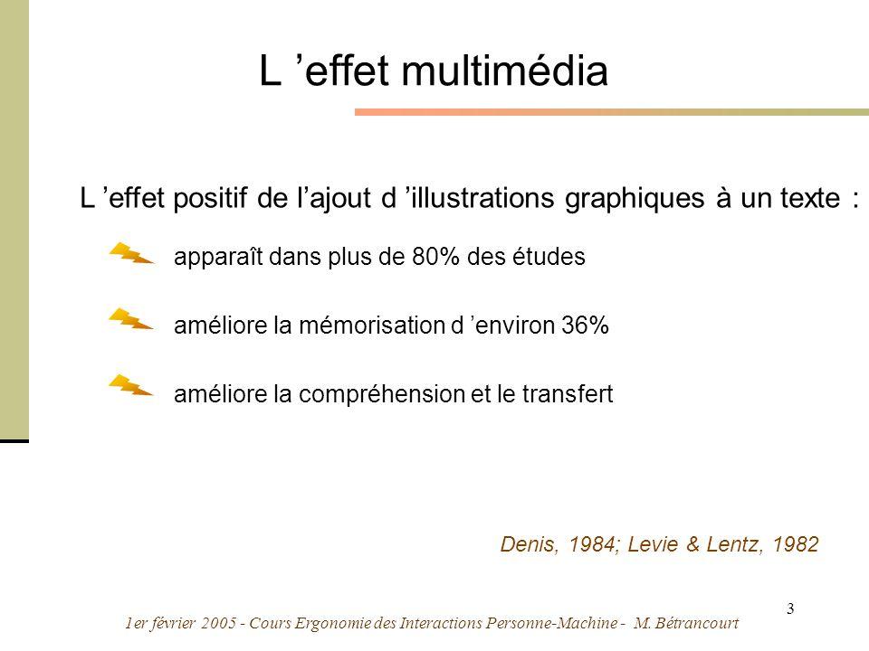 1er février 2005 - Cours Ergonomie des Interactions Personne-Machine - M. Bétrancourt 3 L effet multimédia L effet positif de lajout d illustrations g
