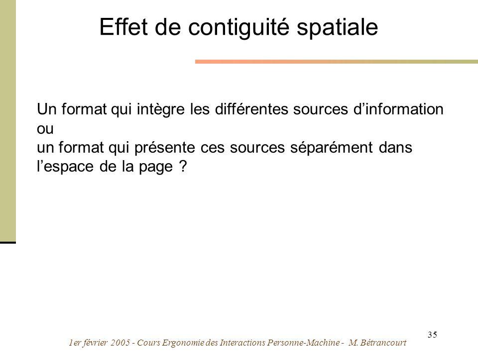 1er février 2005 - Cours Ergonomie des Interactions Personne-Machine - M. Bétrancourt 35 Effet de contiguité spatiale Un format qui intègre les différ