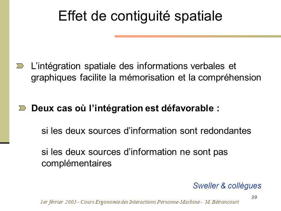 1er février 2005 - Cours Ergonomie des Interactions Personne-Machine - M. Bétrancourt 39 Effet de contiguité spatiale Deux cas où lintégration est déf