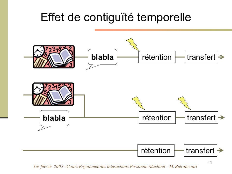 1er février 2005 - Cours Ergonomie des Interactions Personne-Machine - M. Bétrancourt 41 Effet de contiguïté temporelle blabla rétentiontransfert réte