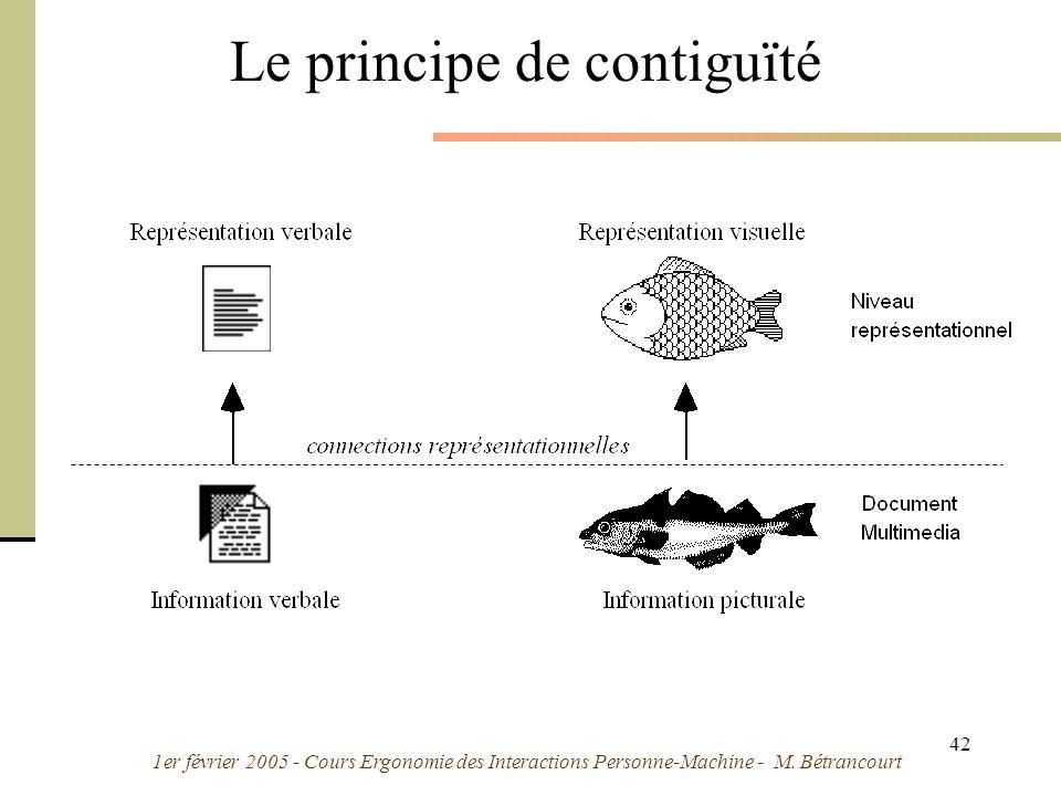 1er février 2005 - Cours Ergonomie des Interactions Personne-Machine - M. Bétrancourt 42 Le principe de contiguïté