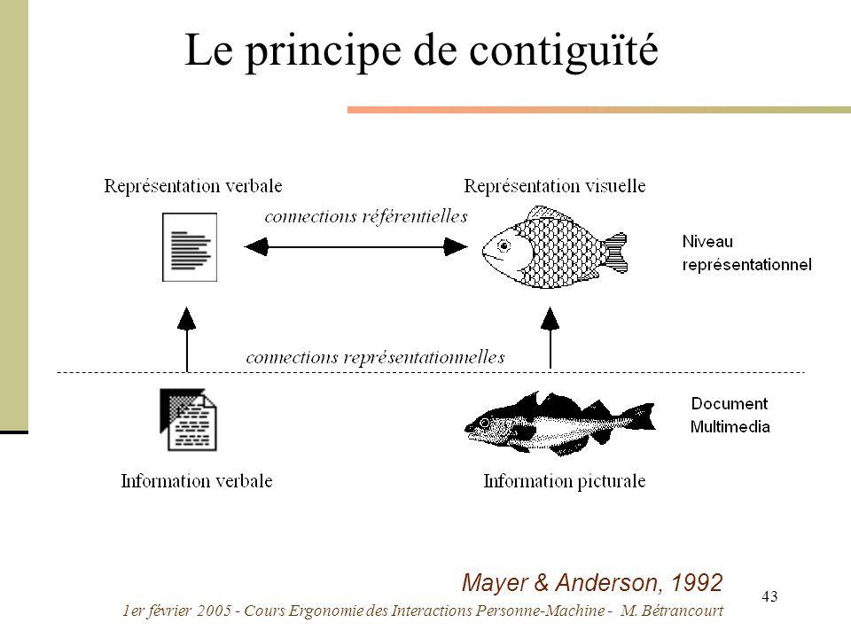 1er février 2005 - Cours Ergonomie des Interactions Personne-Machine - M. Bétrancourt 43 Mayer & Anderson, 1992 Le principe de contiguïté