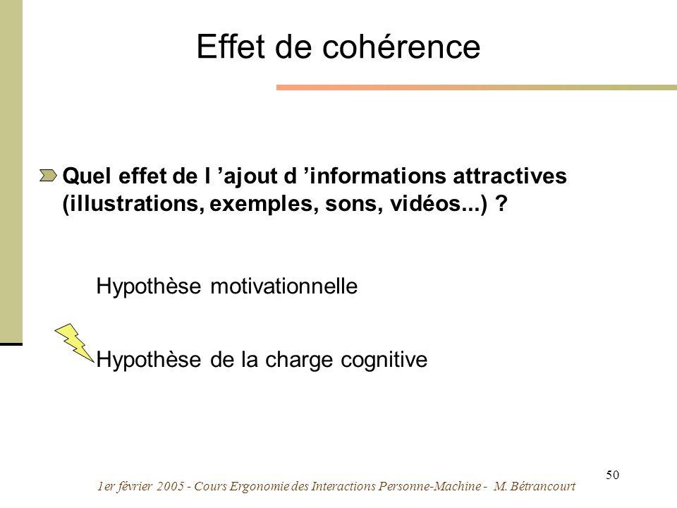 1er février 2005 - Cours Ergonomie des Interactions Personne-Machine - M. Bétrancourt 50 Effet de cohérence Quel effet de l ajout d informations attra
