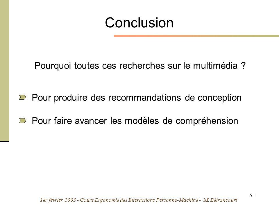 1er février 2005 - Cours Ergonomie des Interactions Personne-Machine - M. Bétrancourt 51 Conclusion Pourquoi toutes ces recherches sur le multimédia ?