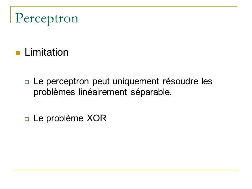 Perceptron Limitation Le perceptron peut uniquement résoudre les problèmes linéairement séparable. Le problème XOR