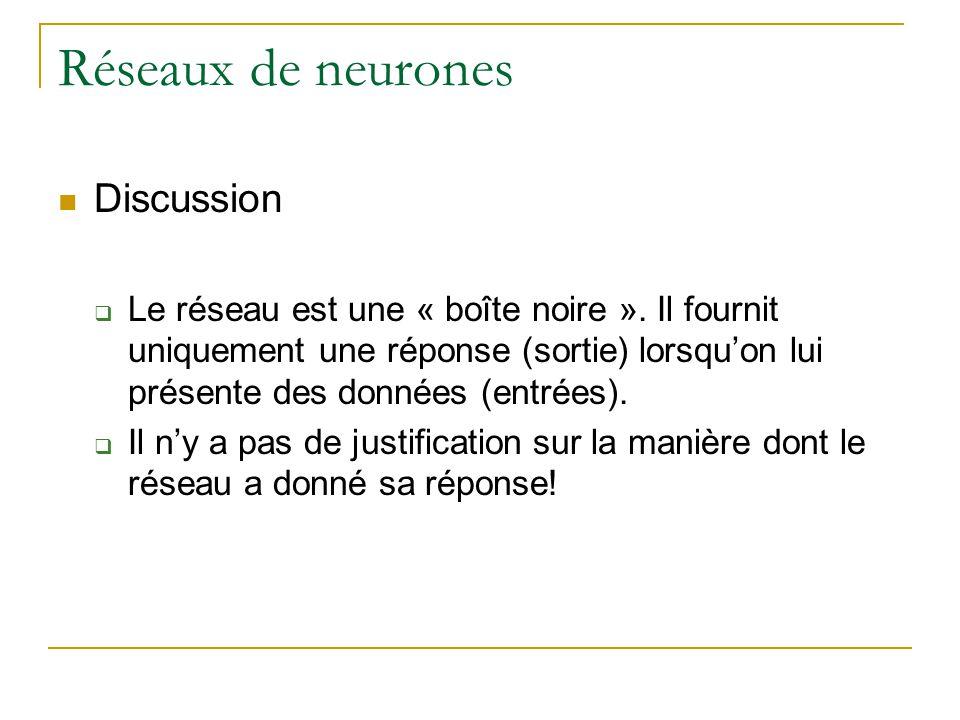 Réseaux de neurones Discussion Le réseau est une « boîte noire ». Il fournit uniquement une réponse (sortie) lorsquon lui présente des données (entrée