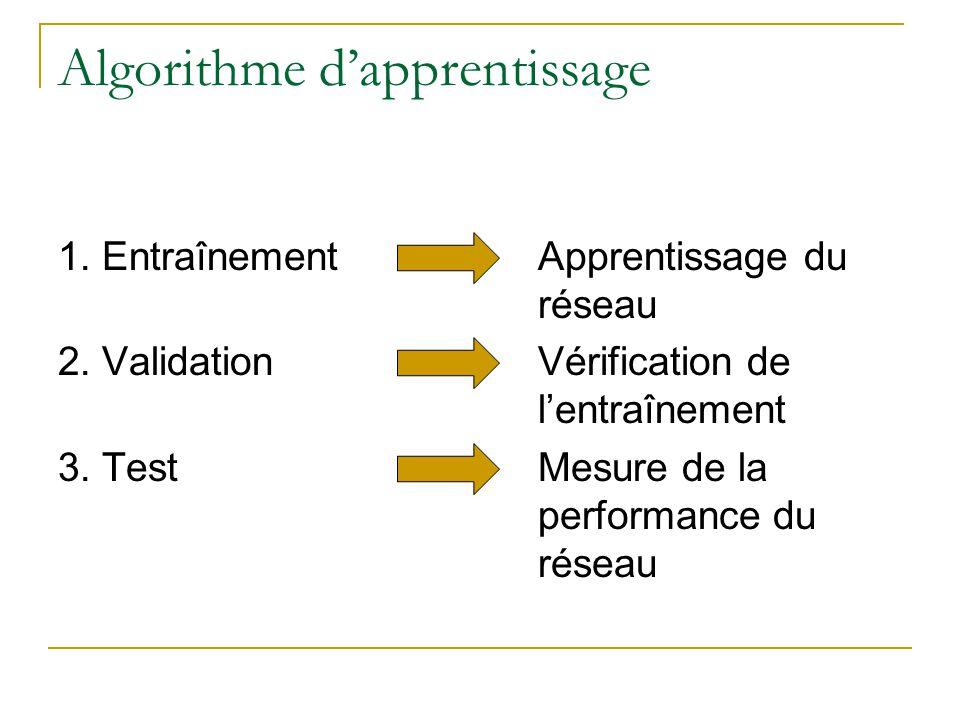 Algorithme dapprentissage 1. EntraînementApprentissage du réseau 2. ValidationVérification de lentraînement 3. TestMesure de la performance du réseau