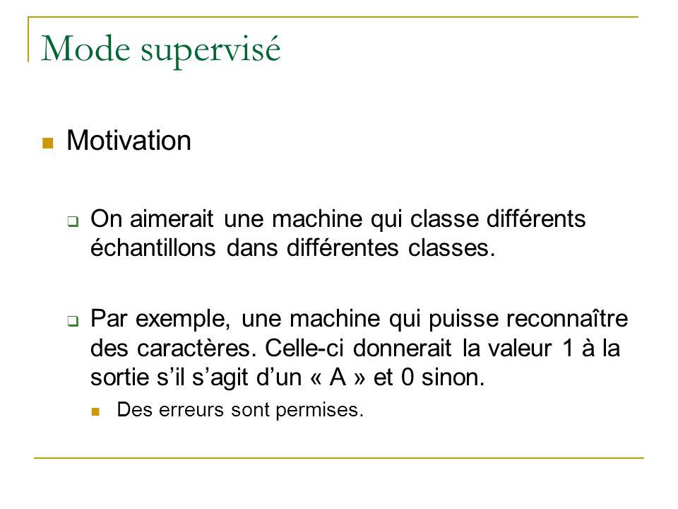 Mode supervisé Motivation On aimerait une machine qui classe différents échantillons dans différentes classes. Par exemple, une machine qui puisse rec