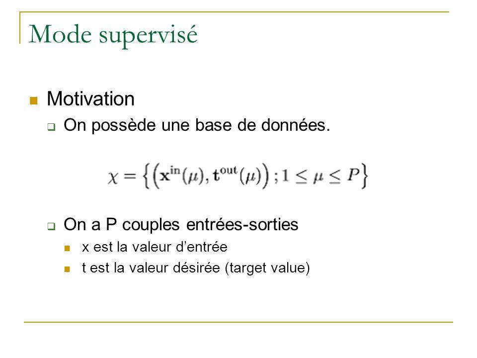 Mode supervisé Motivation On possède une base de données. On a P couples entrées-sorties x est la valeur dentrée t est la valeur désirée (target value