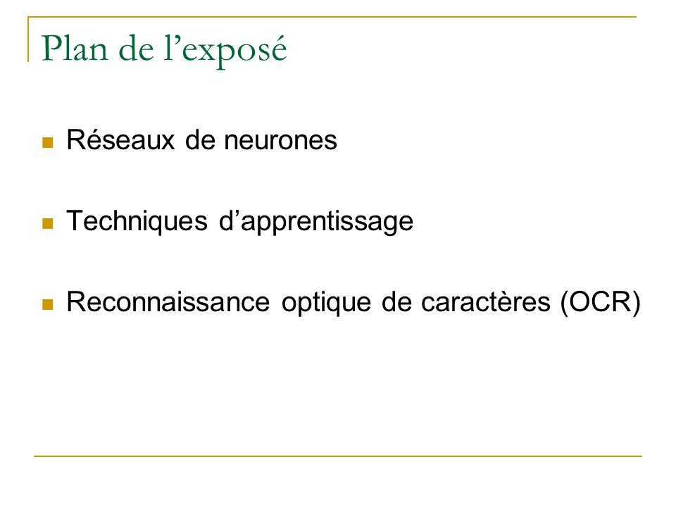 Plan de lexposé Réseaux de neurones Techniques dapprentissage Reconnaissance optique de caractères (OCR)