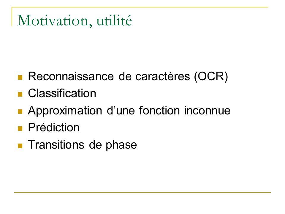 Motivation, utilité Reconnaissance de caractères (OCR) Classification Approximation dune fonction inconnue Prédiction Transitions de phase