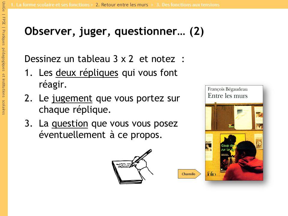 UniGe | FPSE | Pratiques pédagogiques et institutions scolaires Observer, juger, questionner… (2) Dessinez un tableau 3 x 2 et notez : 1.Les deux répl
