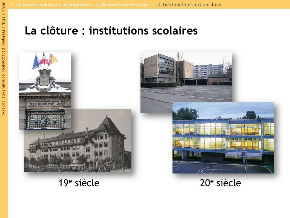UniGe | FPSE | Pratiques pédagogiques et institutions scolaires La clôture : institutions scolaires 19 e siècle20 e siècle 1. La forme scolaire et ses