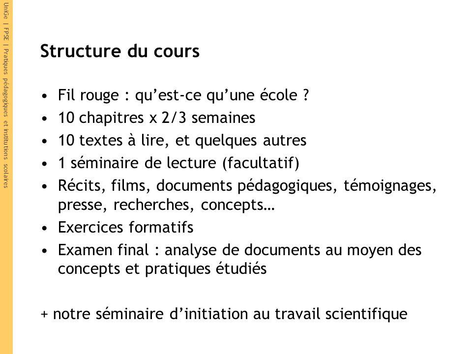 Structure du cours Fil rouge : quest-ce quune école ? 10 chapitres x 2/3 semaines 10 textes à lire, et quelques autres 1 séminaire de lecture (faculta
