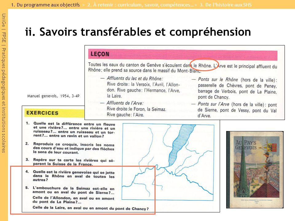 UniGe | FPSE | Pratiques pédagogiques et institutions scolaires ii. Savoirs transférables et compréhension Manuel genevois, 1954, 3-4P 1. Du programme