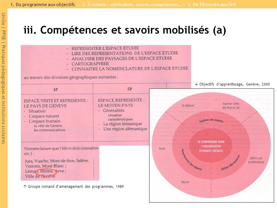 UniGe | FPSE | Pratiques pédagogiques et institutions scolaires iii. Compétences et savoirs mobilisés (a) Groupe romand daménagement des programmes, 1