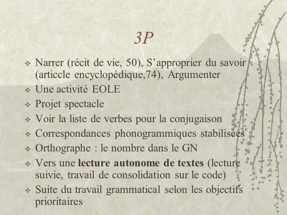 3P Narrer (récit de vie, 50), Sapproprier du savoir (articcle encyclopédique,74), Argumenter Une activité EOLE Projet spectacle Voir la liste de verbe
