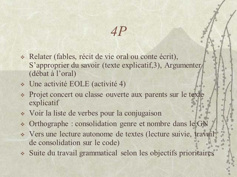 4P Relater (fables, récit de vie oral ou conte écrit), Sapproprier du savoir (texte explicatif,3), Argumenter (débat à loral) Une activité EOLE (activ