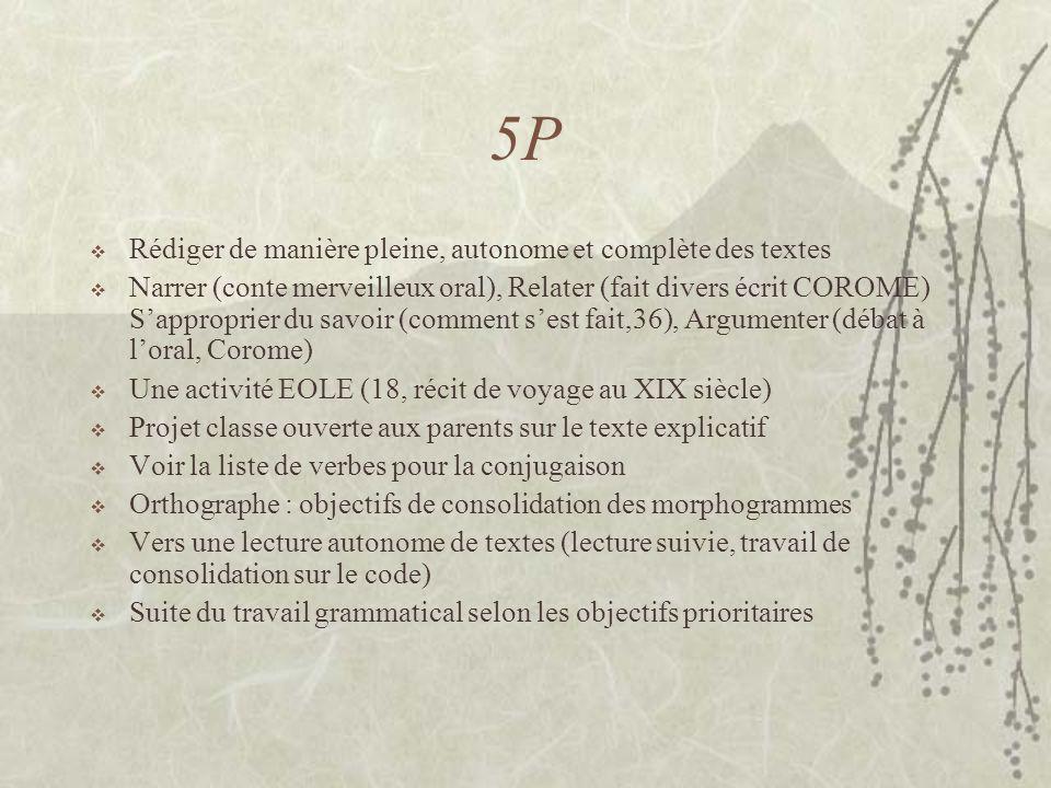 5P Rédiger de manière pleine, autonome et complète des textes Narrer (conte merveilleux oral), Relater (fait divers écrit COROME) Sapproprier du savoi