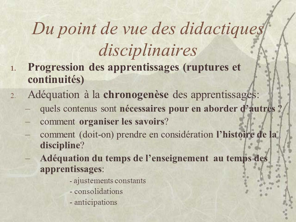 Du point de vue des didactiques disciplinaires 1. Progression des apprentissages (ruptures et continuités) 2. Adéquation à la chronogenèse des apprent