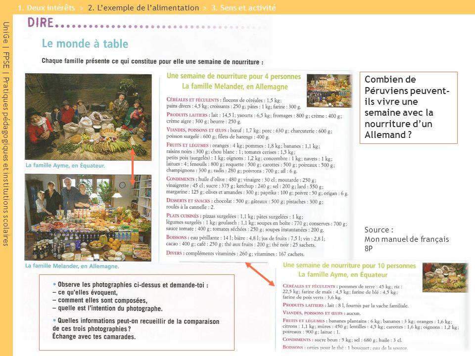 UniGe | FPSE | Pratiques pédagogiques et institutions scolaires Source : Mon manuel de français 8P Combien de Péruviens peuvent- ils vivre une semaine