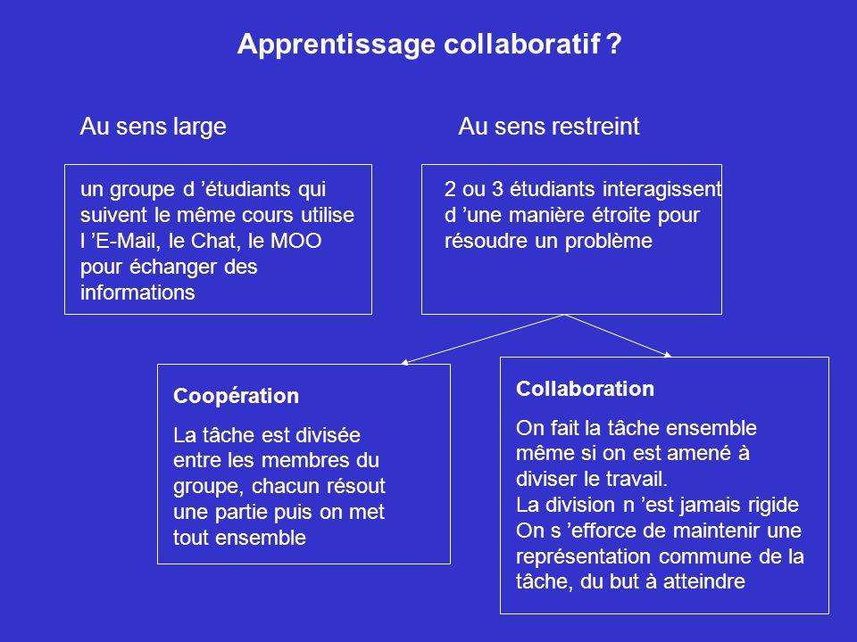 Apprentissage collaboratif ? un groupe d étudiants qui suivent le même cours utilise l E-Mail, le Chat, le MOO pour échanger des informations 2 ou 3 é