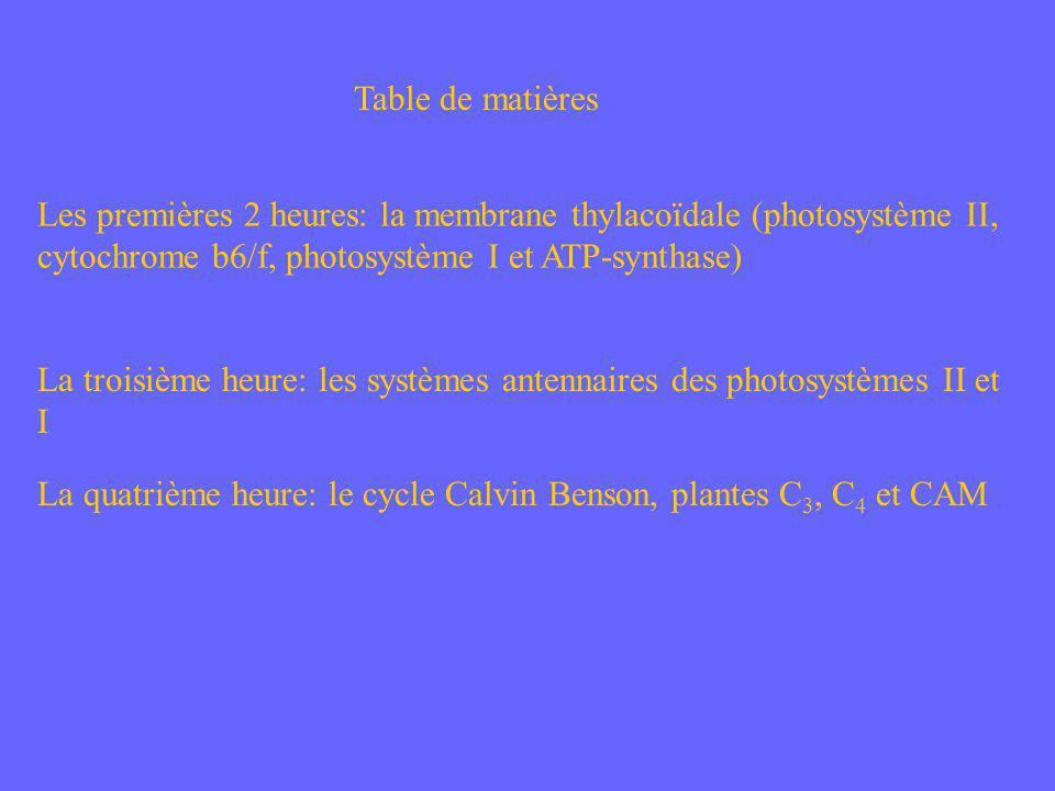 Table de matières Les premières 2 heures: la membrane thylacoïdale (photosystème II, cytochrome b6/f, photosystème I et ATP-synthase) La troisième heu