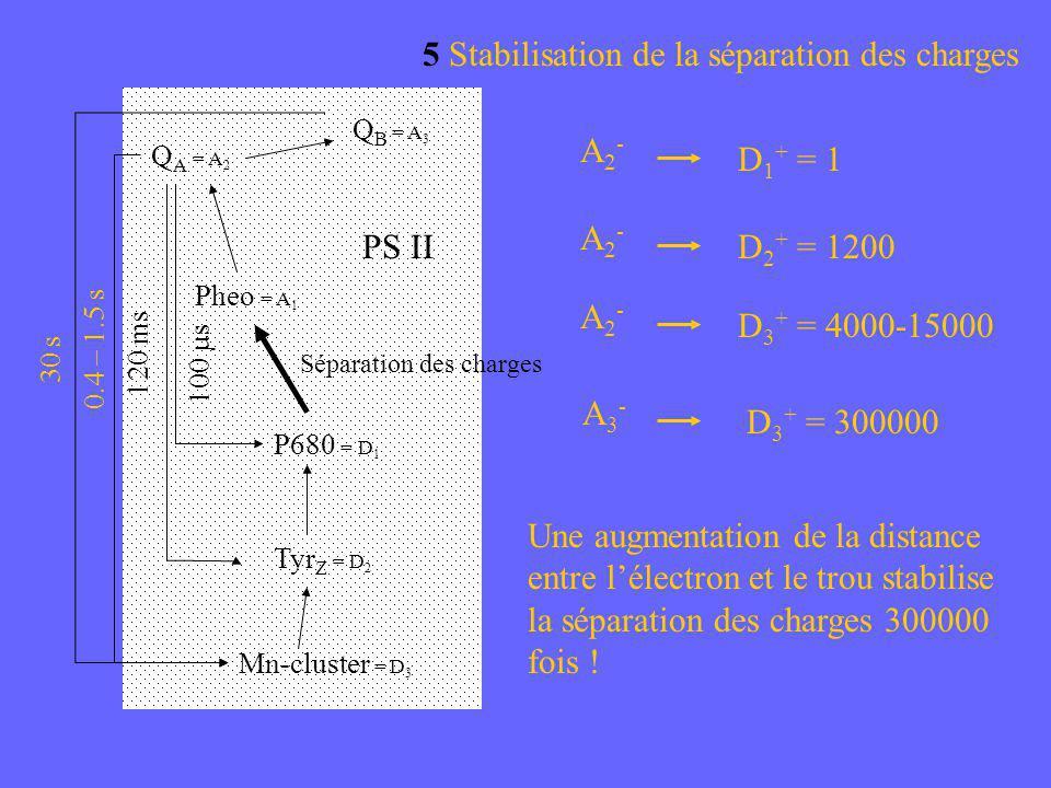 A2-A2- D 1 + = 1 A2-A2- D 2 + = 1200 A2-A2- D 3 + = 4000-15000 Une augmentation de la distance entre lélectron et le trou stabilise la séparation des