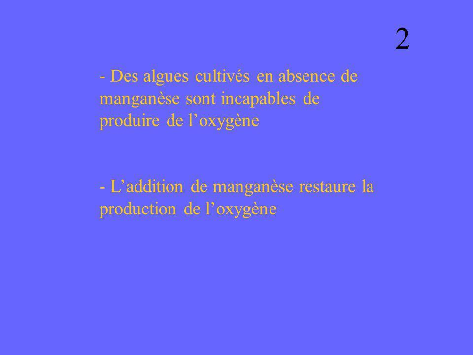 - Des algues cultivés en absence de manganèse sont incapables de produire de loxygène - Laddition de manganèse restaure la production de loxygène 2