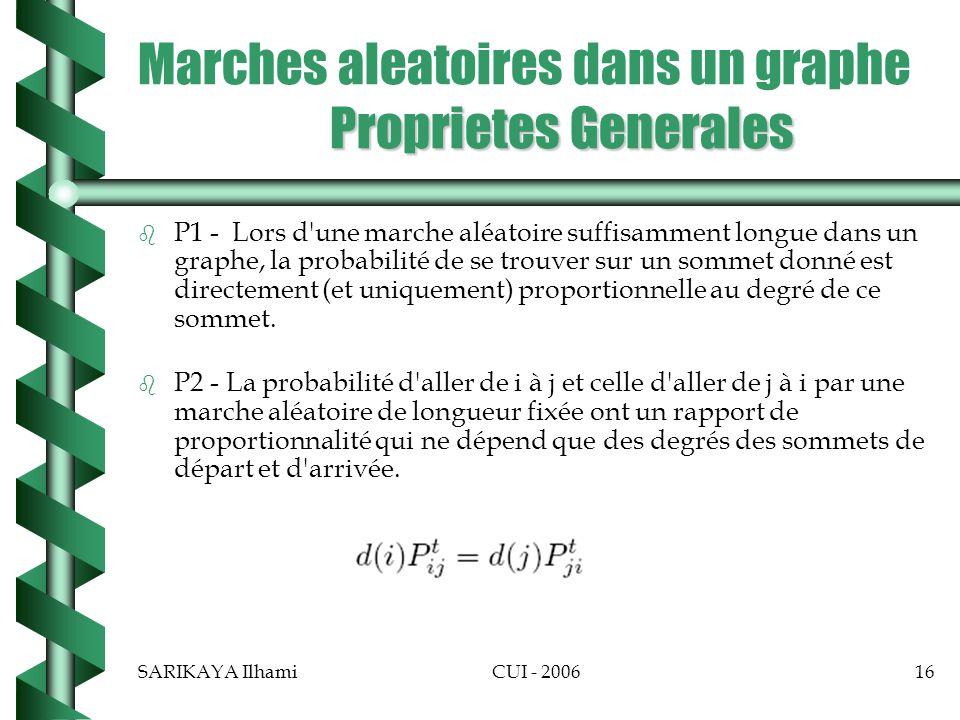 SARIKAYA IlhamiCUI - 200616 Proprietes Generales Marches aleatoires dans un graphe Proprietes Generales b b P1 - Lors d une marche aléatoire suffisamment longue dans un graphe, la probabilité de se trouver sur un sommet donné est directement (et uniquement) proportionnelle au degré de ce sommet.
