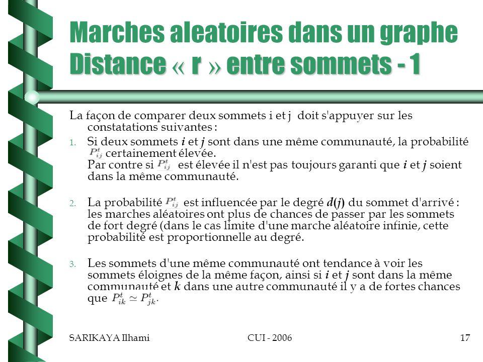 SARIKAYA IlhamiCUI - 200617 Distance « r » entre sommets - 1 Marches aleatoires dans un graphe Distance « r » entre sommets - 1 La façon de comparer deux sommets i et j doit s appuyer sur les constatations suivantes : 1.