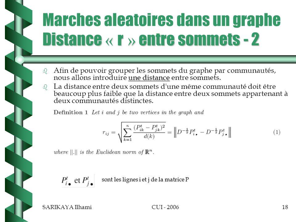 SARIKAYA IlhamiCUI - 200618 Distance « r » entre sommets - 2 Marches aleatoires dans un graphe Distance « r » entre sommets - 2 b une distance b Afin de pouvoir grouper les sommets du graphe par communautés, nous allons introduire une distance entre sommets.