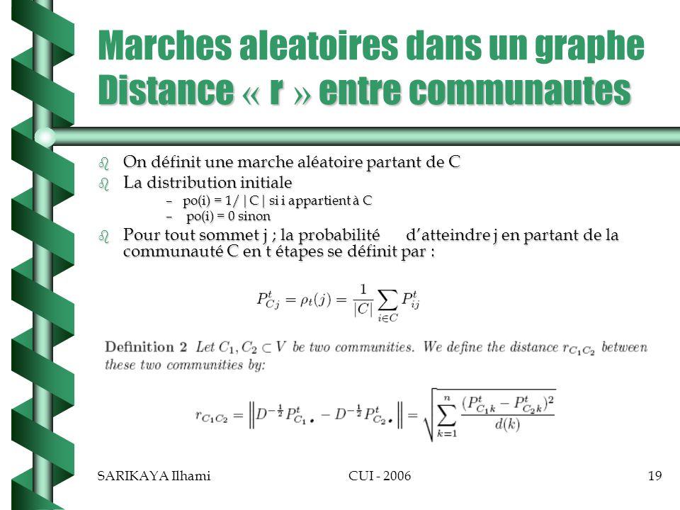 SARIKAYA IlhamiCUI - 200619 Distance « r » entre communautes Marches aleatoires dans un graphe Distance « r » entre communautes b On définit une marche aléatoire partant de C b La distribution initiale –po(i) = 1/|C| si i appartient à C – po(i) = 0 sinon b Pour tout sommet j ; la probabilité datteindre j en partant de la communauté C en t étapes se définit par :