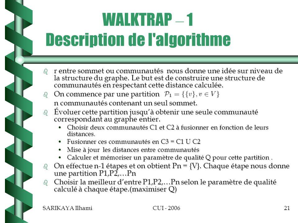 SARIKAYA IlhamiCUI - 200621 WALKTRAP – 1 Description de l algorithme b r entre sommet ou communautés nous donne une idée sur niveau de la structure du graphe.