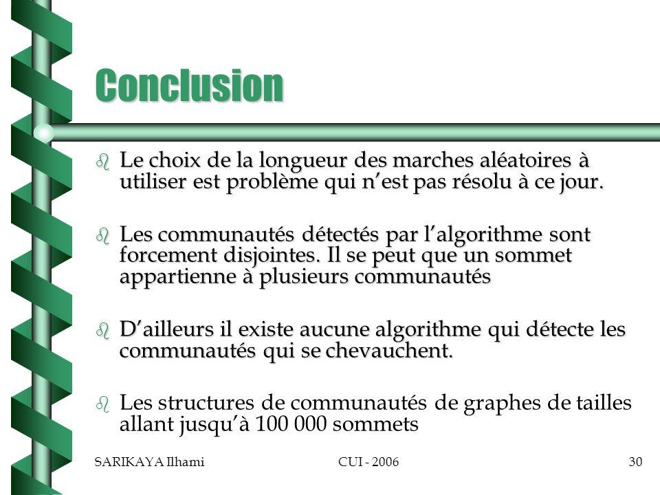 SARIKAYA IlhamiCUI - 200630 Conclusion b Le choix de la longueur des marches aléatoires à utiliser est problème qui nest pas résolu à ce jour.