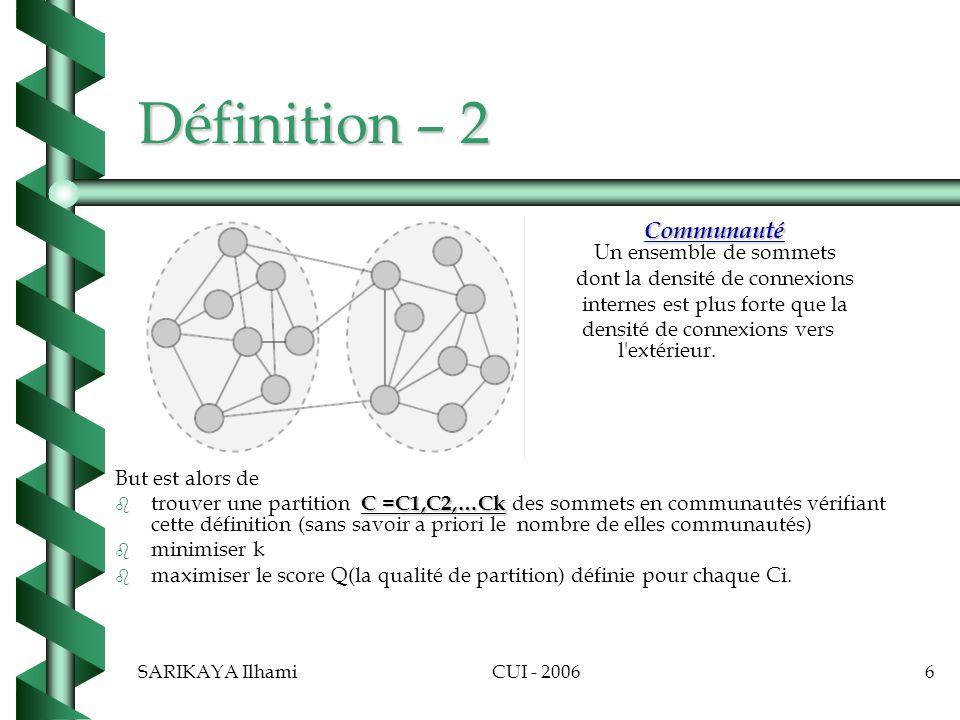 SARIKAYA IlhamiCUI - 20067 Les approches et défauts b b Beaucoup dalgorithmes existent pour détecter les communautés dans un graphe.