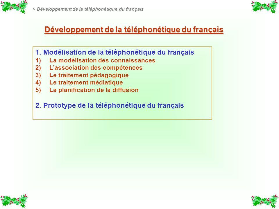 1. Modélisation de la téléphonétique du français 1) 1)La modélisation des connaissances 2) 2)Lassociation des compétences 3) 3)Le traitement pédagogiq