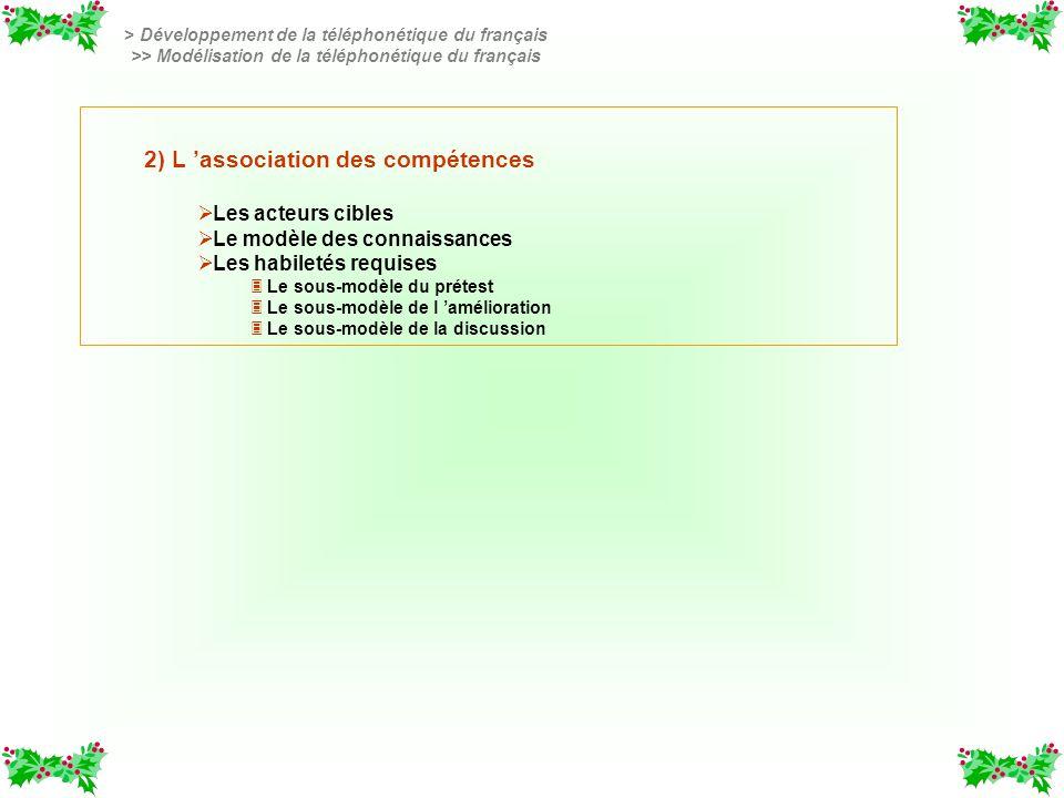 2) L association des compétences Les acteurs cibles Le modèle des connaissances Les habiletés requises 3 3 Le sous-modèle du prétest 3 3 Le sous-modèl