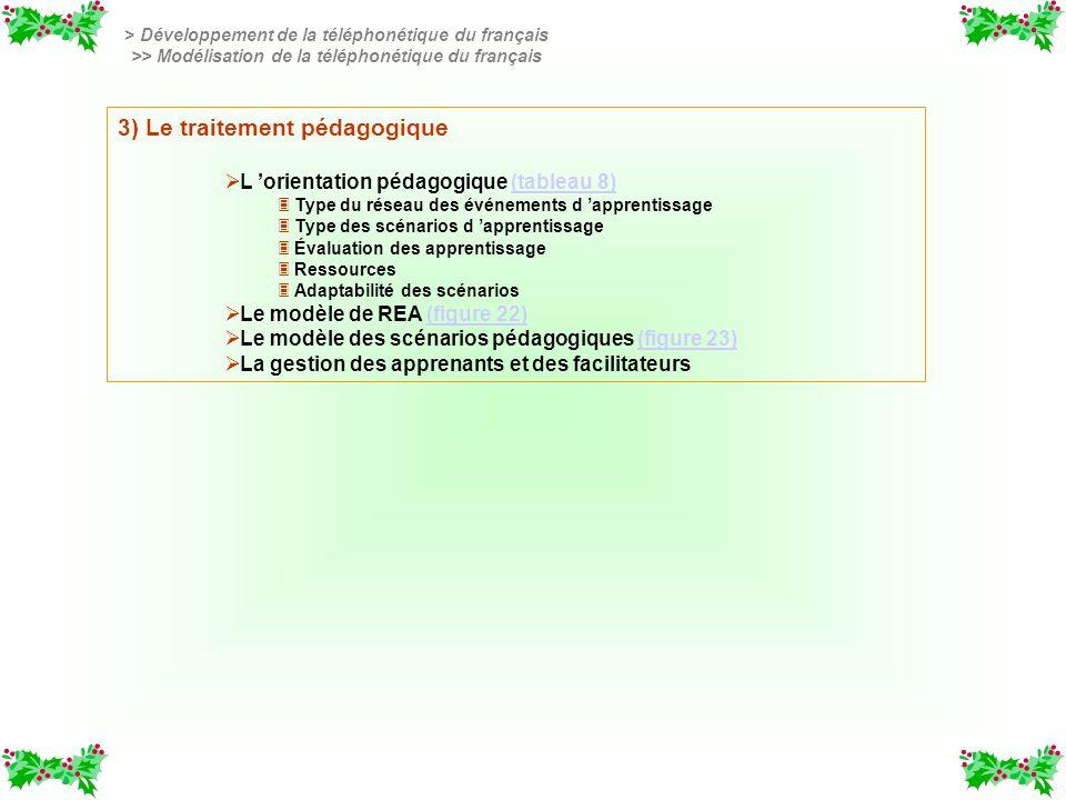 3) Le traitement pédagogique L orientation pédagogique (tableau 8)(tableau 8) 3 3 Type du réseau des événements d apprentissage 3 3 Type des scénarios