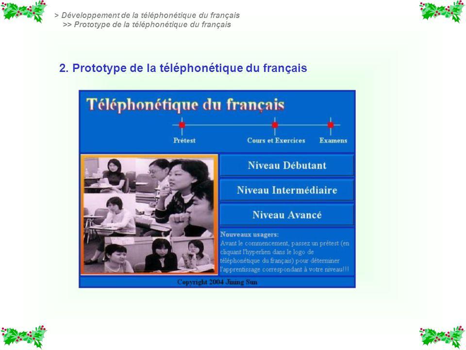 2. Prototype de la téléphonétique du français > Développement de la téléphonétique du français >> Prototype de la téléphonétique du français