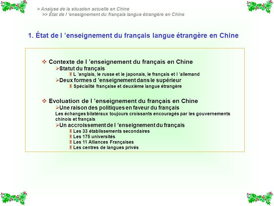 v v Contexte de l enseignement du français en Chine Statut du français 3 3 L anglais, le russe et le japonais, le français et l allemand Deux formes d