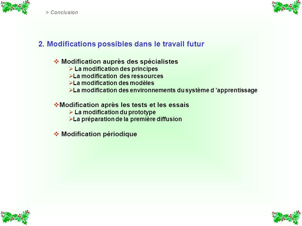 2. Modifications possibles dans le travail futur v v Modification auprès des spécialistes La modification des principes La modification des ressources