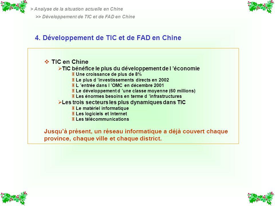 v v TIC en Chine TIC bénéfice le plus du développement de l économie 3 3 Une croissance de plus de 8% 3 3 Le plus d investissements directs en 2002 3