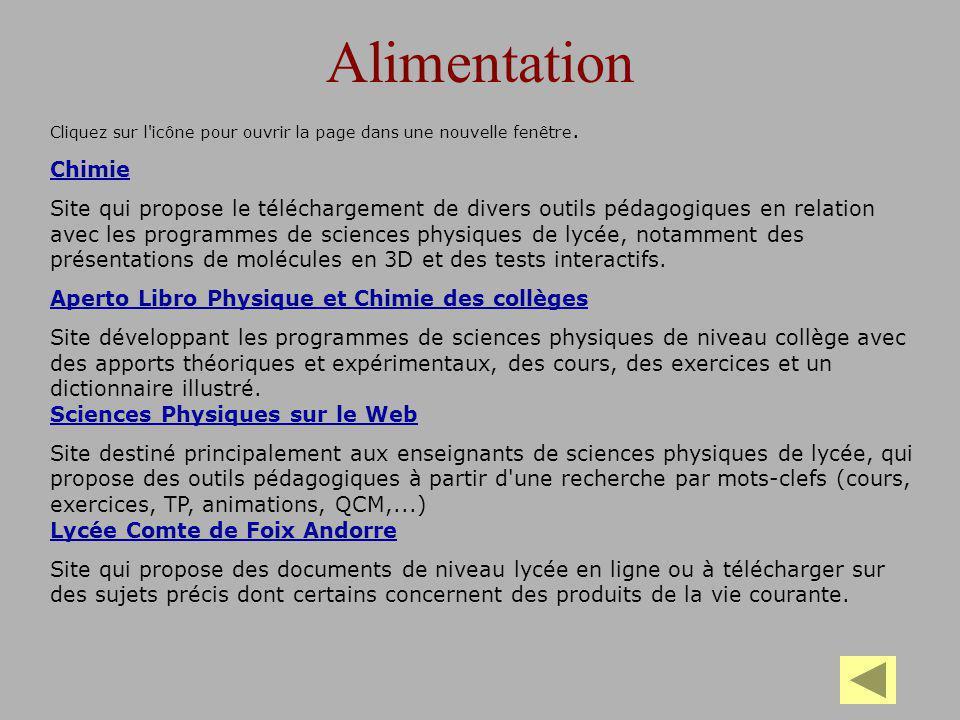 Chimie au quotidien Chimie la classe Jeu-parcours interactif destiné plus particulièrement aux enfants, qui présente les applications de la chimie dans la vie quotidienne et propose quelques expériences illustratives et pédagogiques.